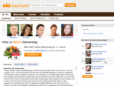 Namenstage Feature StayFriends Meilenstein Company History